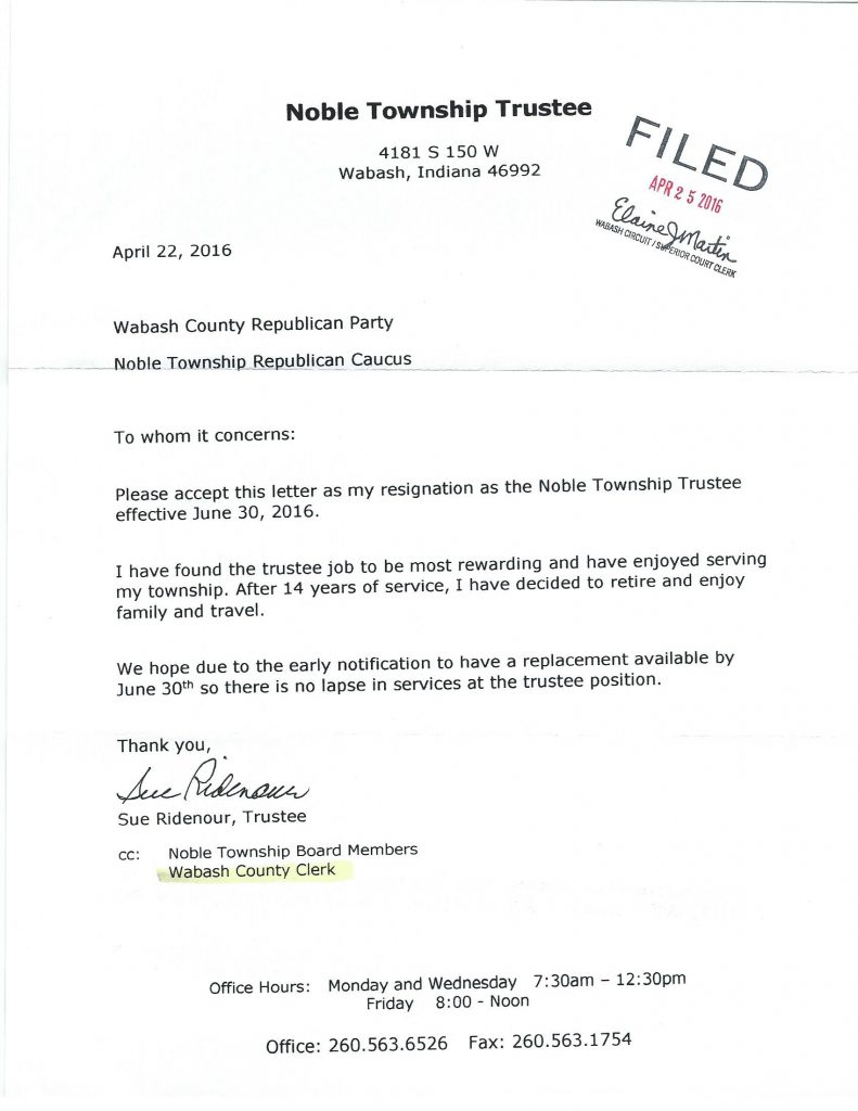 Free Resume trustee resignation letter : Your News Local | Ridenour Leaving Position As Noble Township Trustee